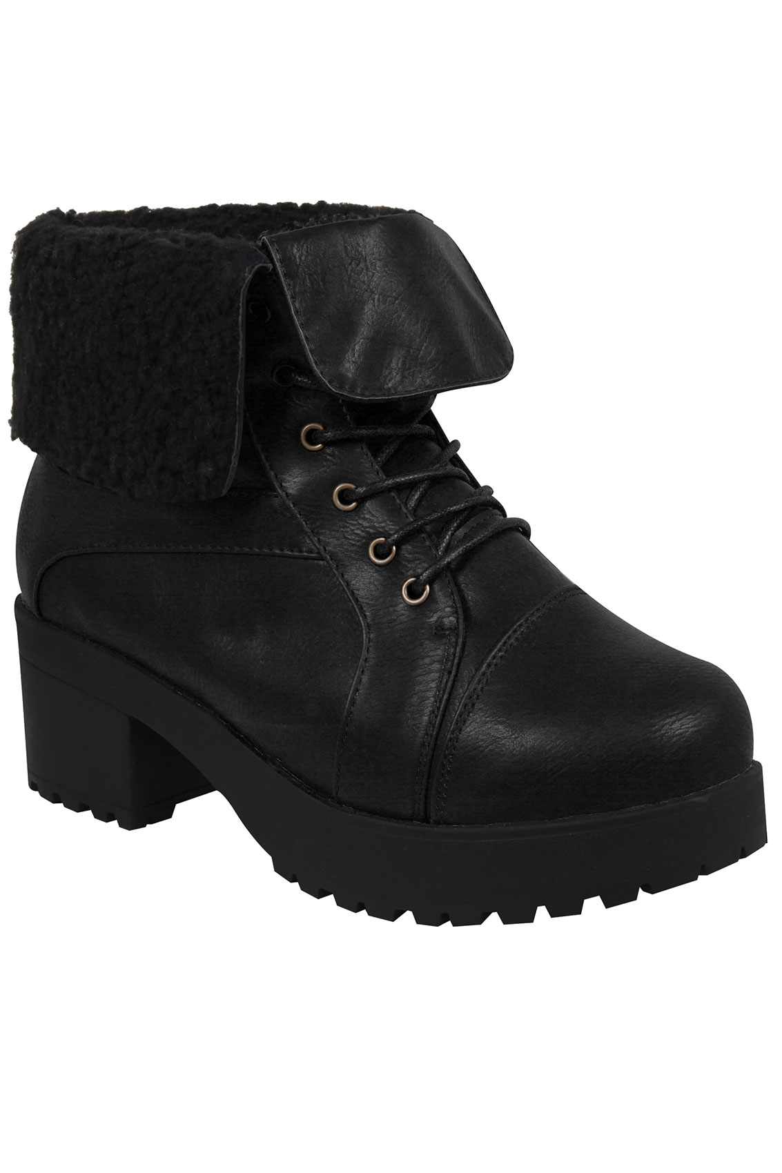 black lace ankle boot with cleated heel eee fit 4eee 5eee
