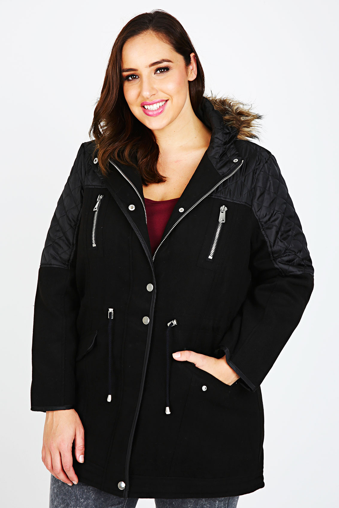 Black velour parka coat with contrasting quilted panels plus size 16