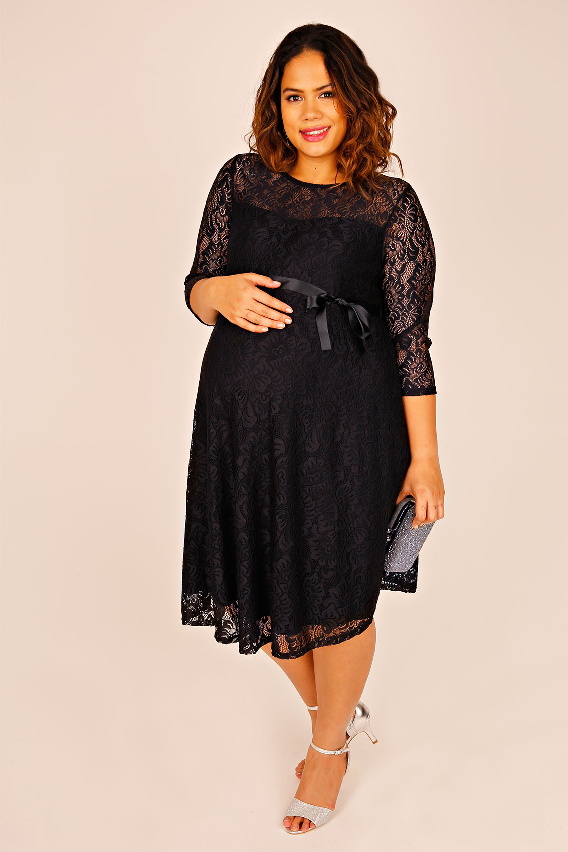 bump it up maternity black lace sleeved skater dress with. Black Bedroom Furniture Sets. Home Design Ideas