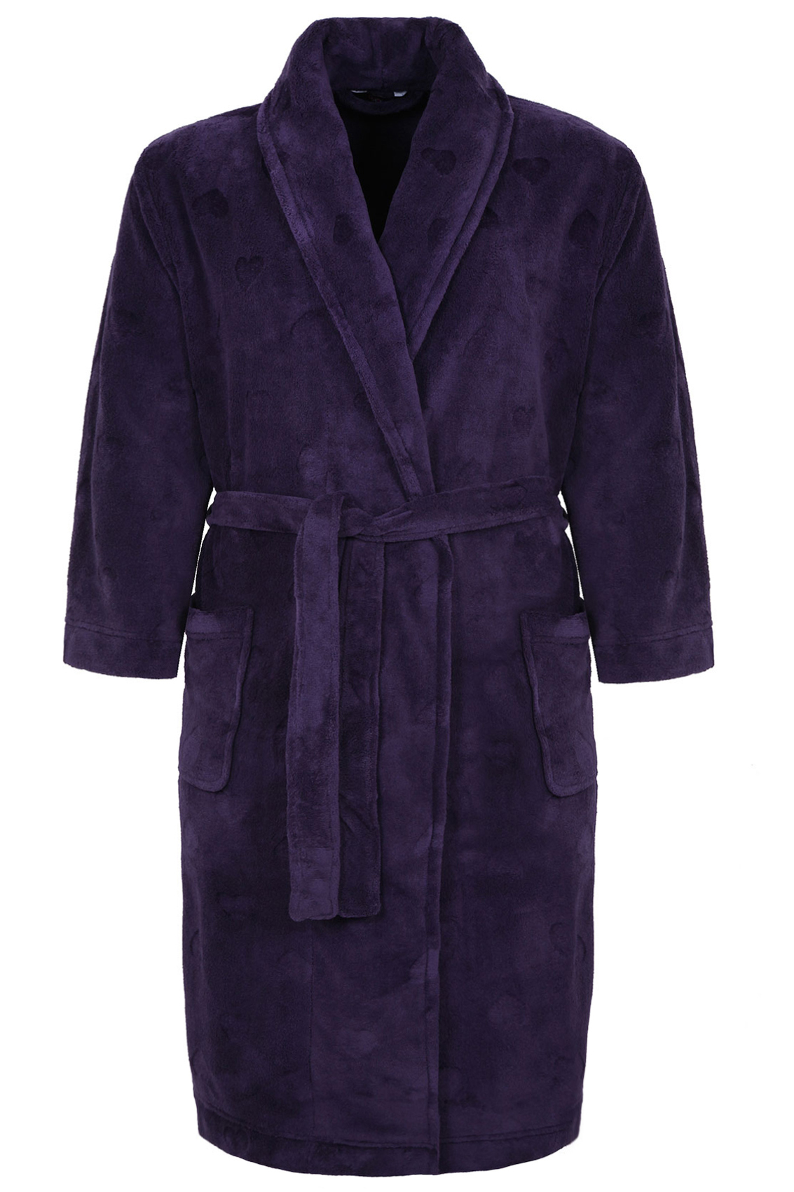 purple burnout heart fleece dressing gown with pockets. Black Bedroom Furniture Sets. Home Design Ideas