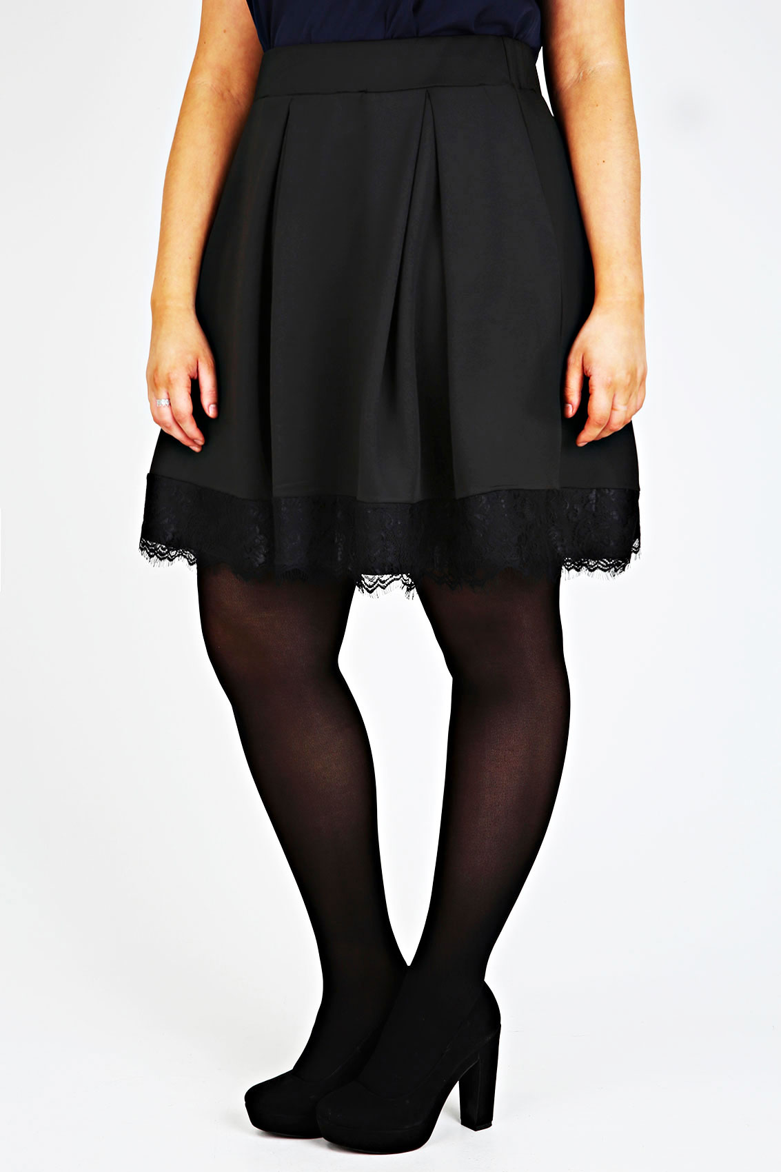 black pleated skater skirt with lace hem plus size 14 16