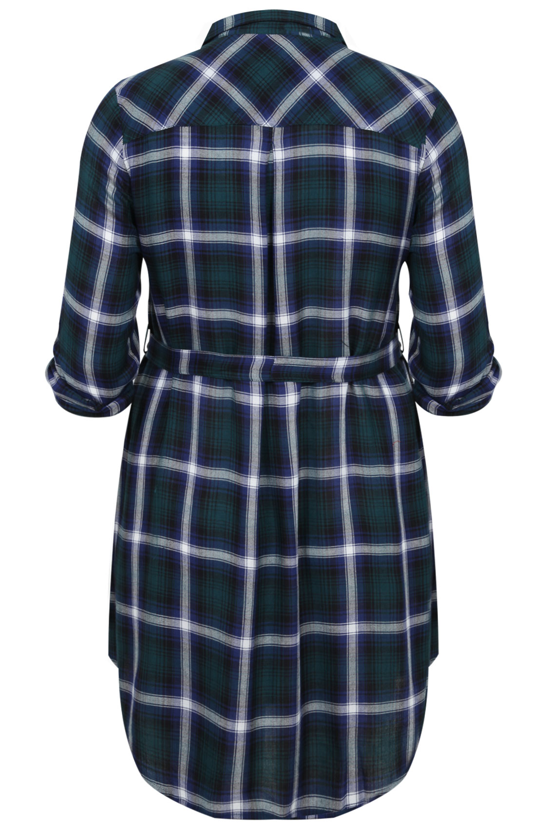 Green and navy check tunic with tie waist plus sizes 16 18 for 20 34 35 dress shirts