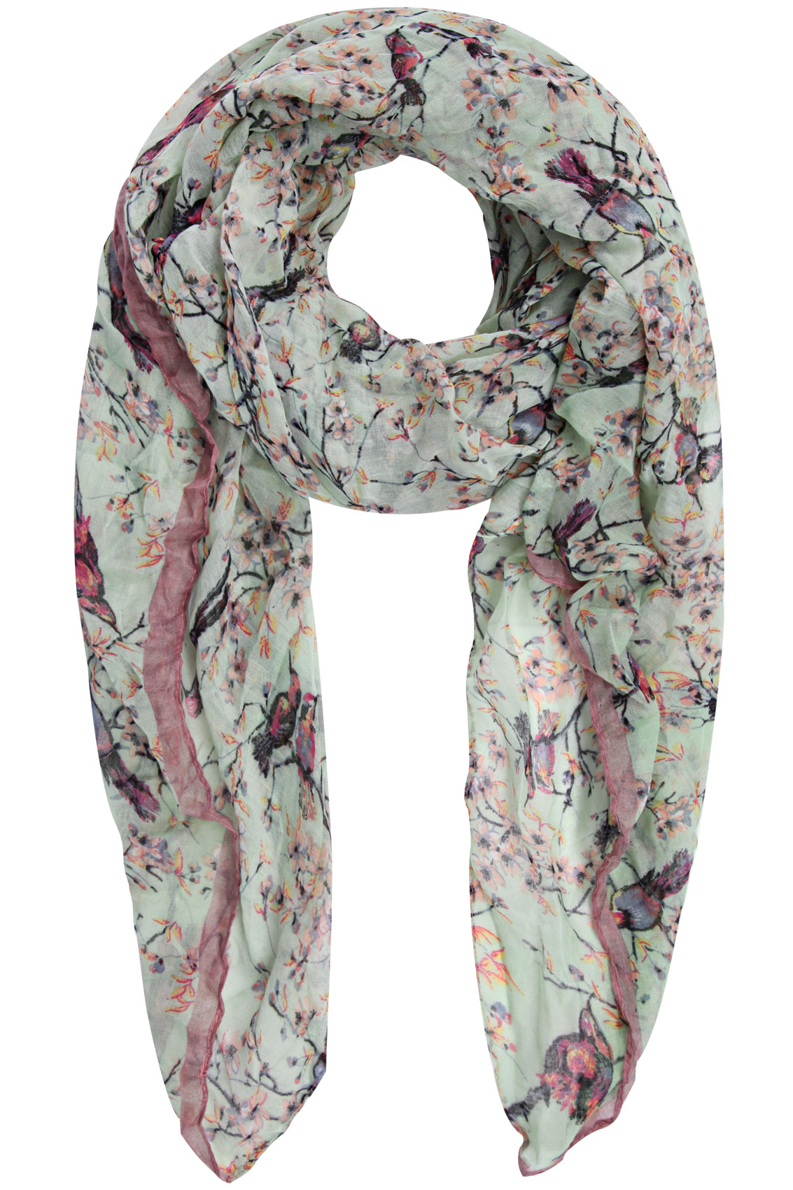 mint green bird and floral print scarf