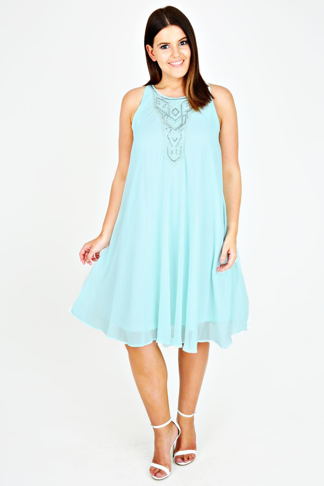 Mint Chiffon Sleeveless Swing Dress With Silver ...