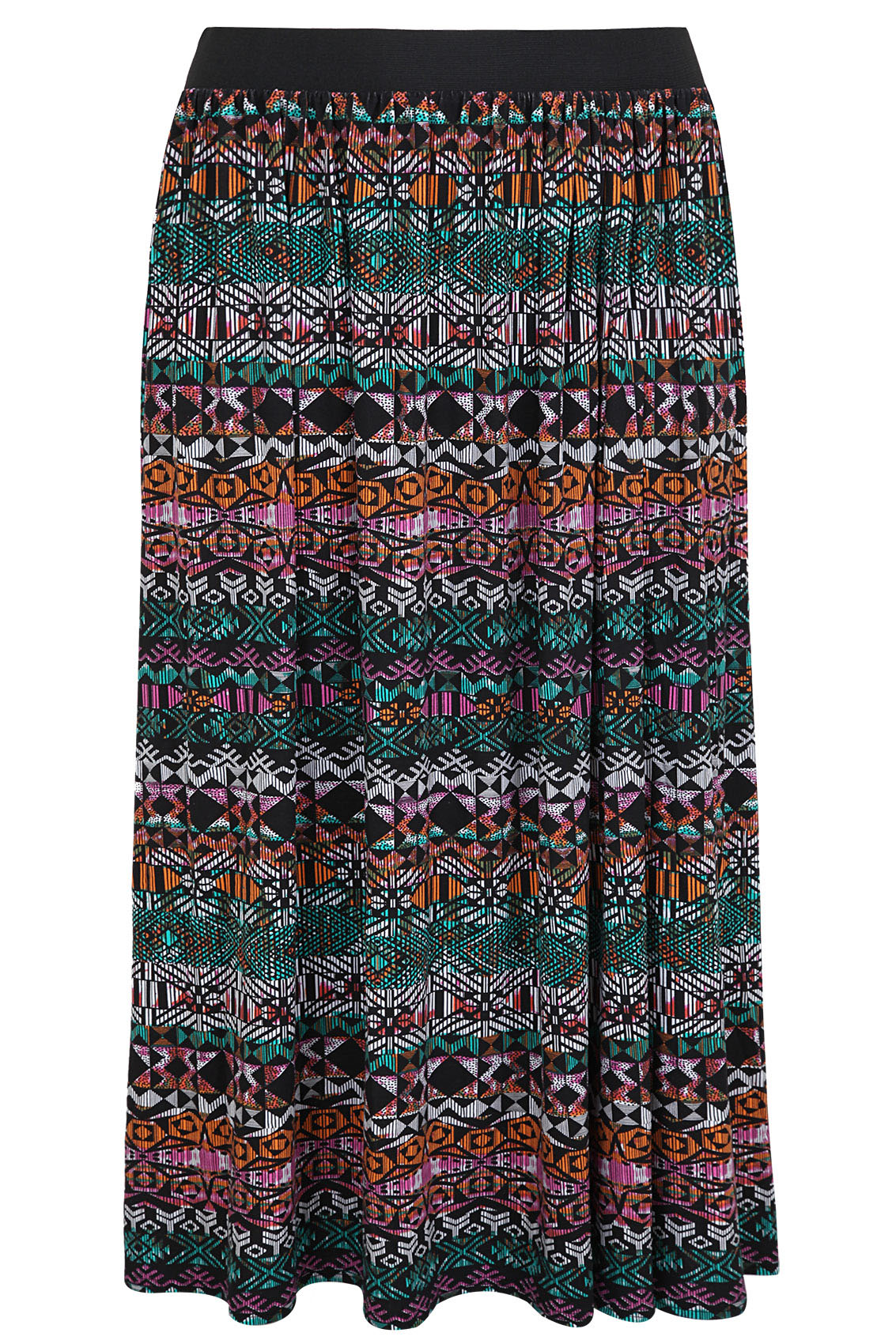multi all aztec print maxi skirt with elasticated