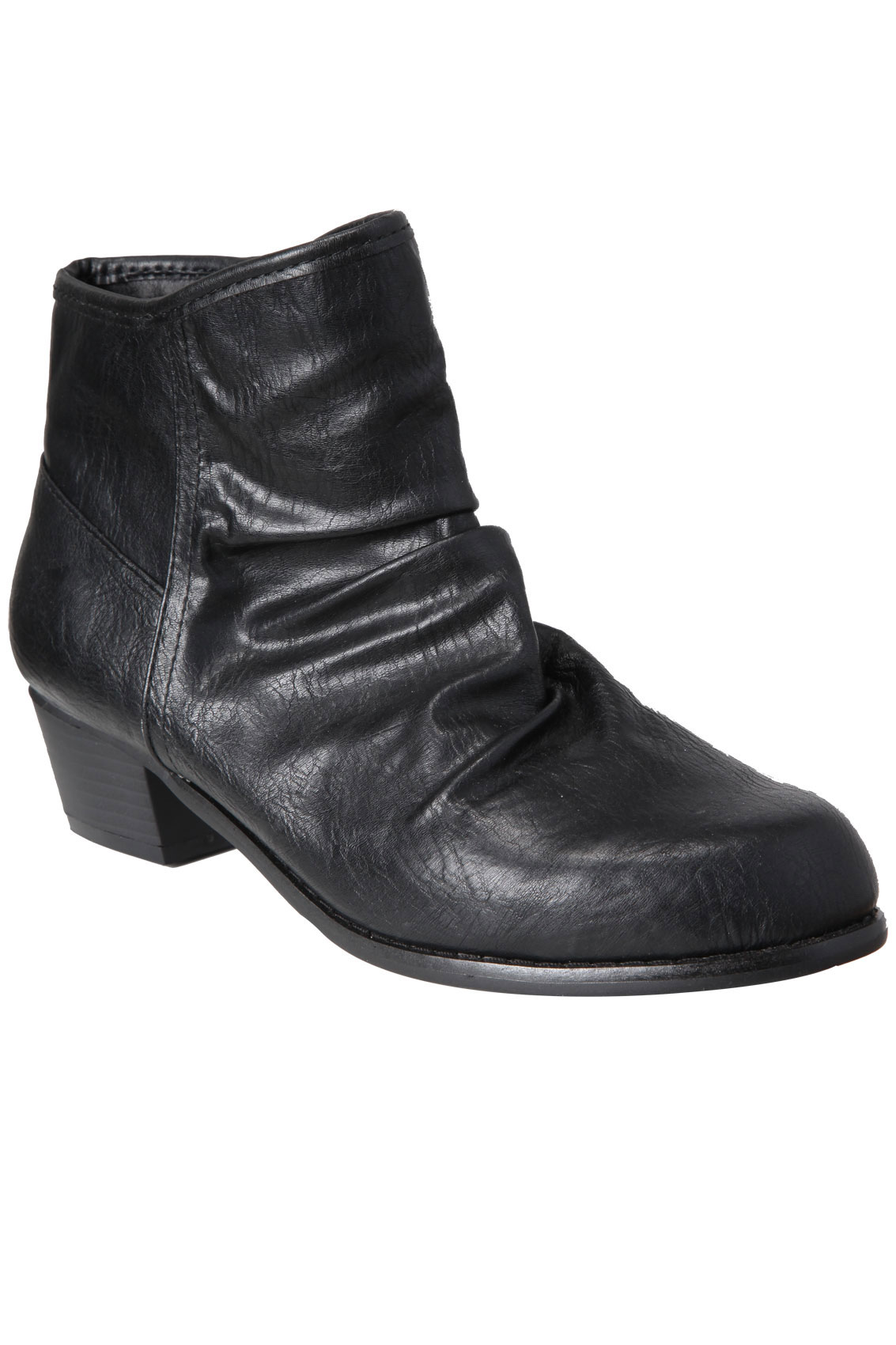 black ruched ankle boots with side zip in eee fit 4eee