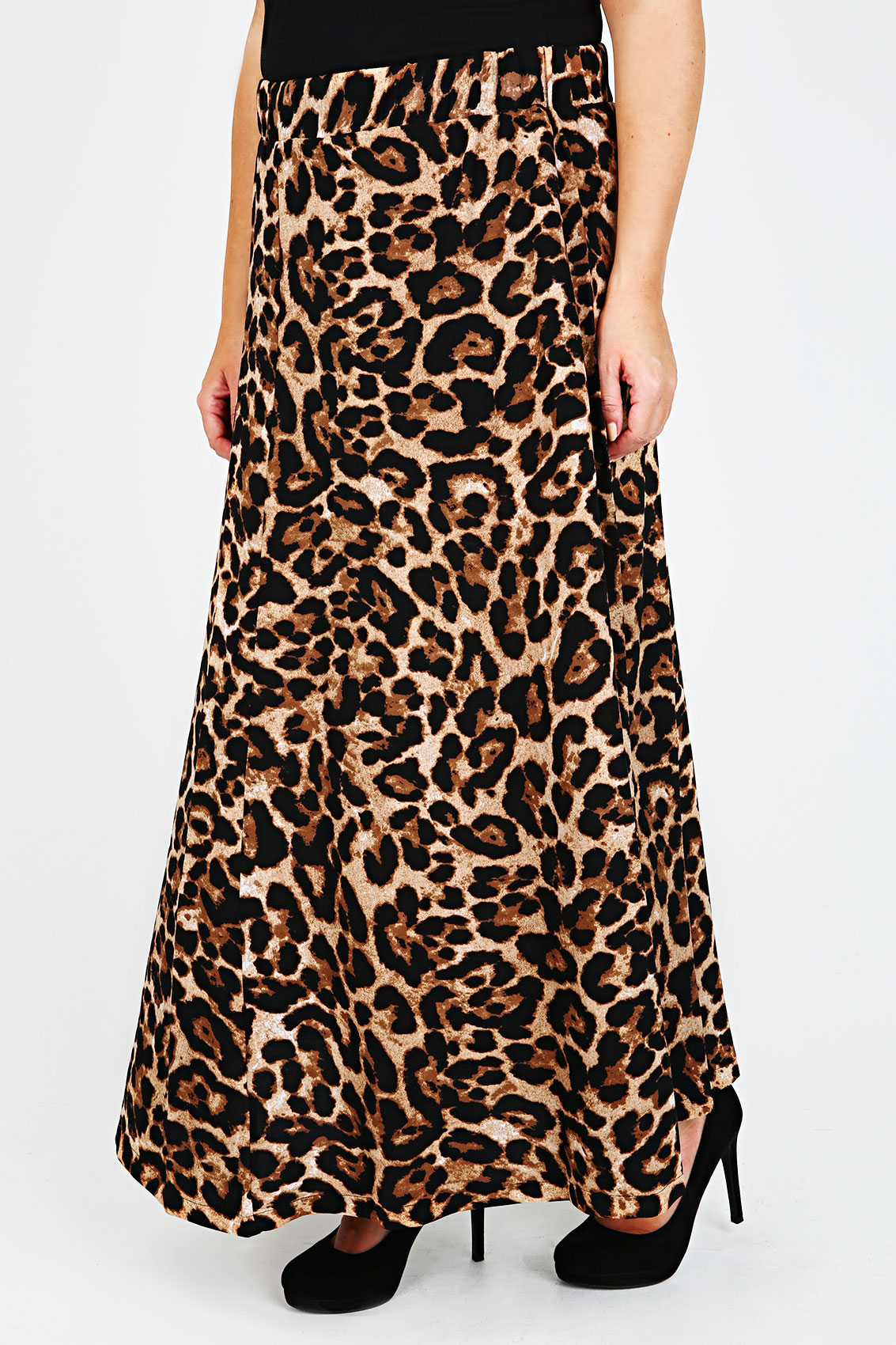 leopard print maxi skirt with panel detail plus size 16 18