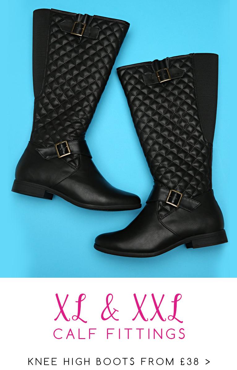 Shop XL & XXL Calf Fitting Knee High Boots >