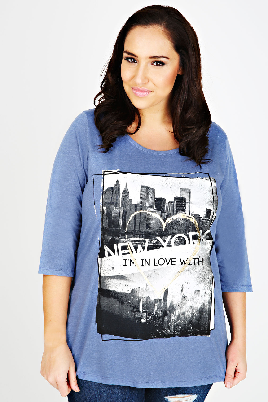 Blue marl 39 new york 39 print half sleeve t shirt plus size for New york printed t shirts