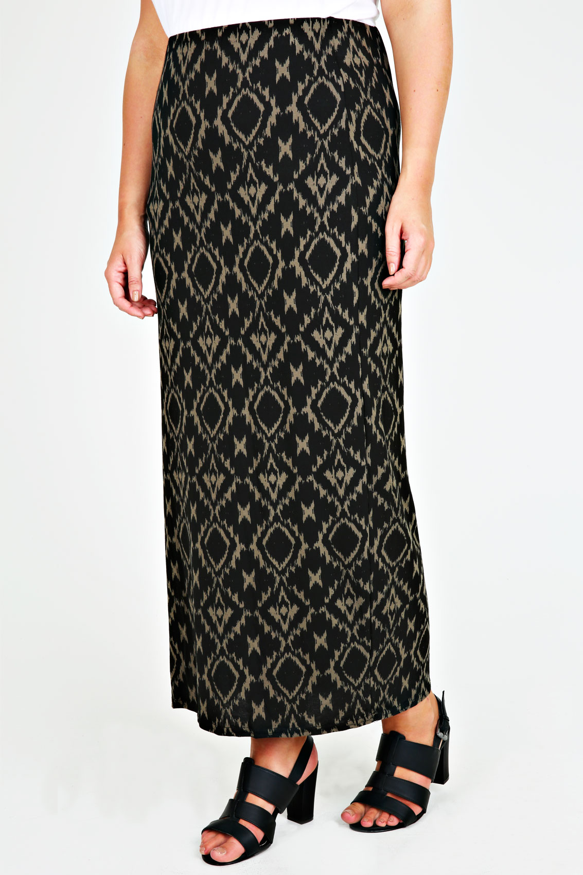 black and khaki aztec print maxi skirt plus size 14