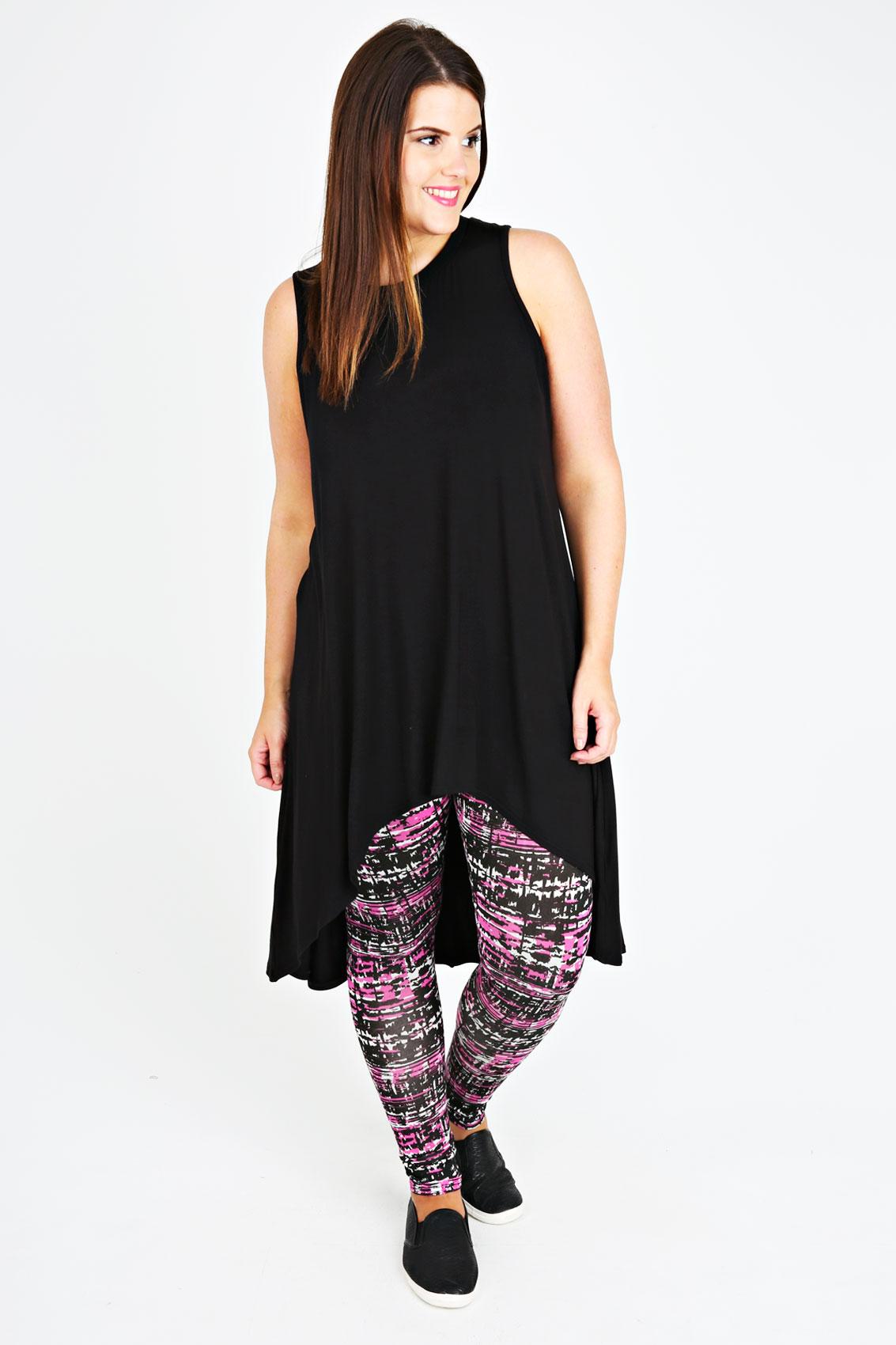 Black And Khaki Brush Print Viscose Elastane Leggings plus