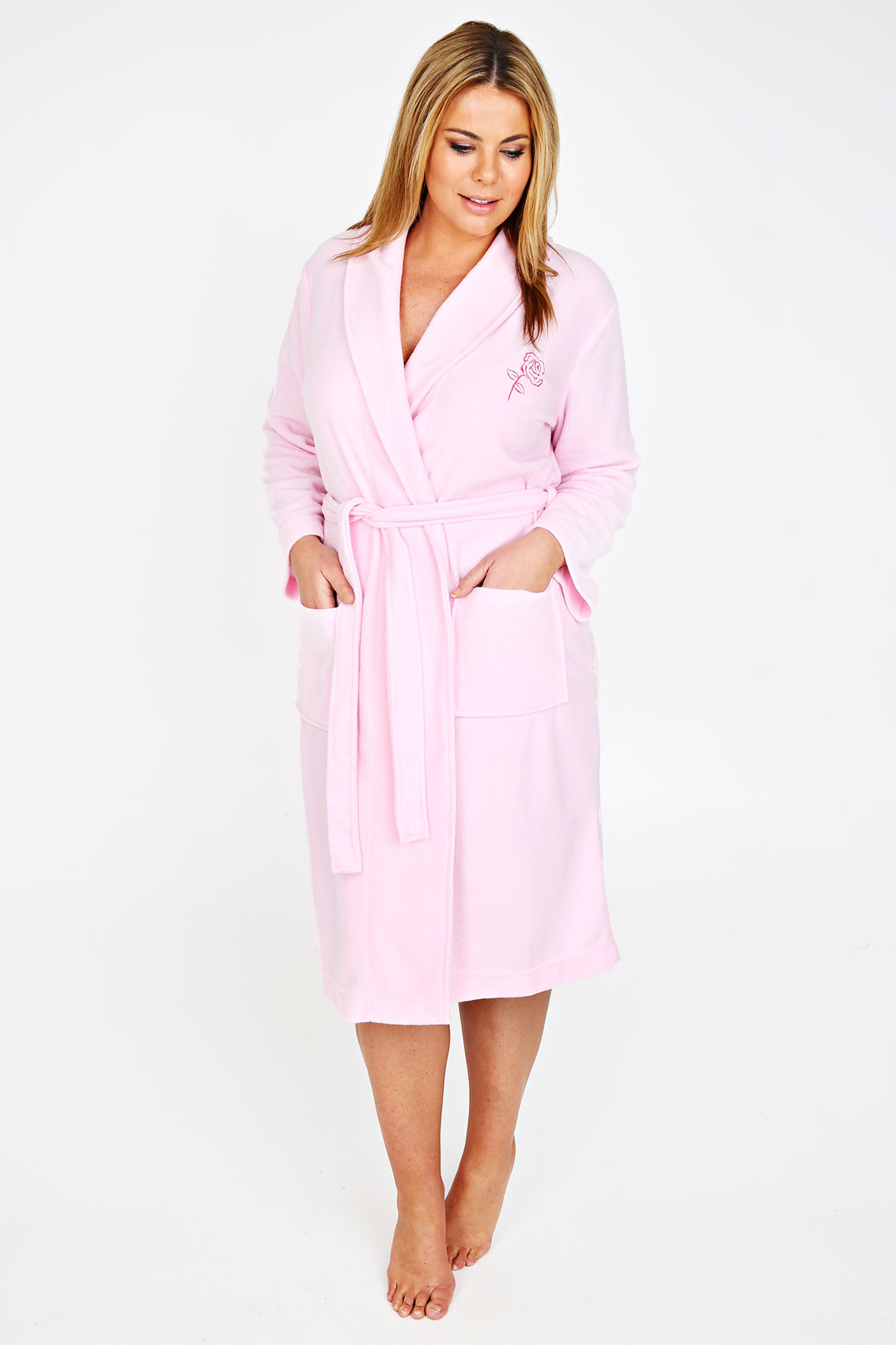 pink micro fleece dressing gown with embroidery plus size. Black Bedroom Furniture Sets. Home Design Ideas