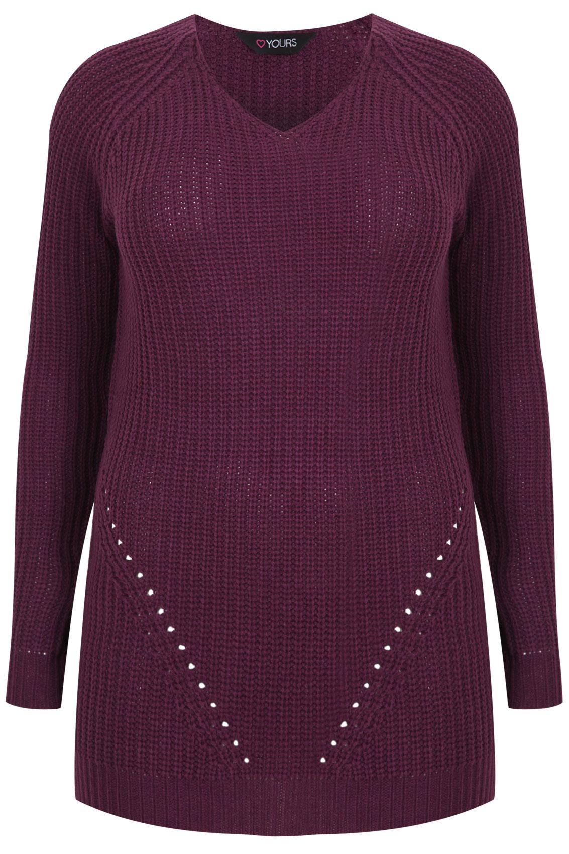Purple Longline Knitted V Neck Jumper Plus size 16,18,20,22,24,26,28,30,32,34,36