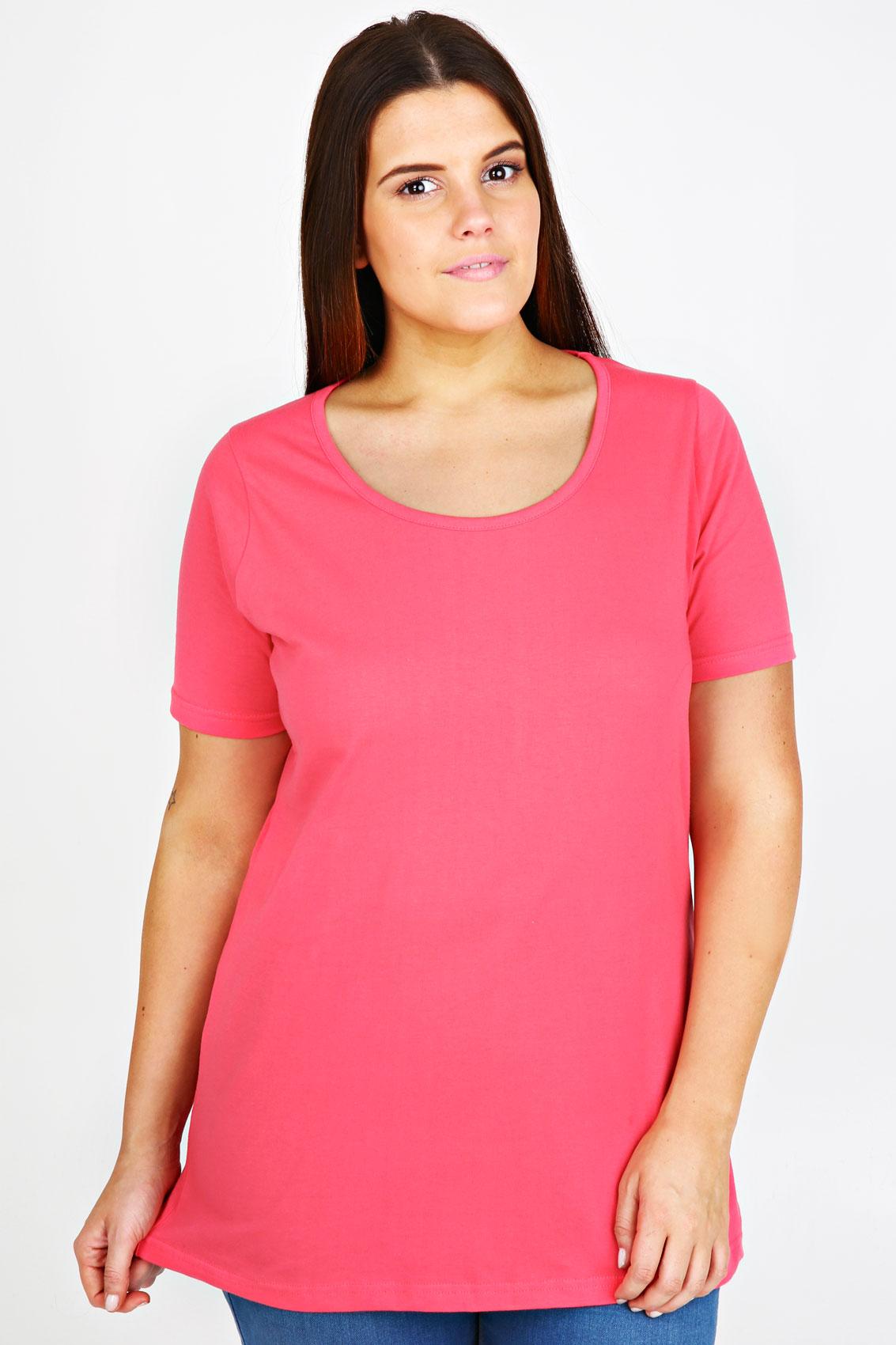 Watermelon Plain Basic Scoop Neck T Shirt Plus Size 16 18