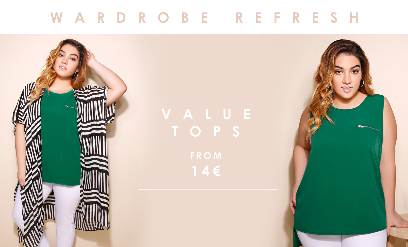 Value Tops from 14€, Sizes 16-36 >
