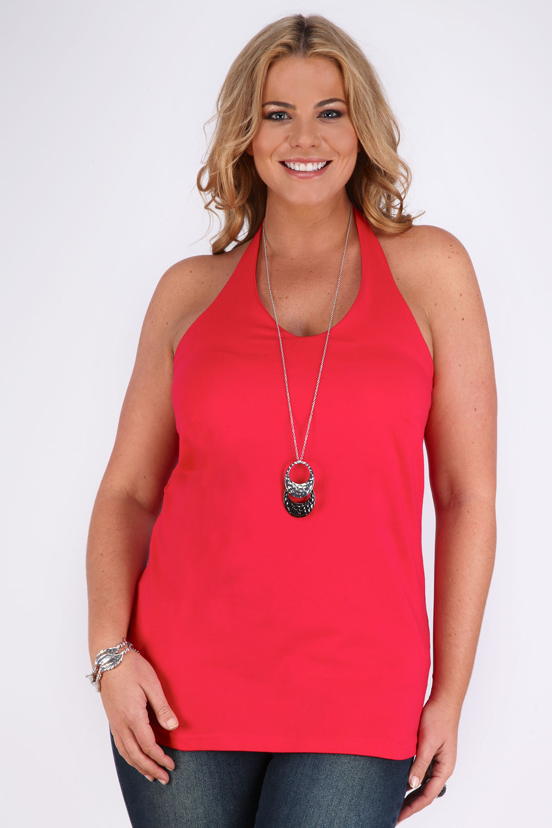 Red Halter Neck Top With Inner Support Panel plus size 16 ...