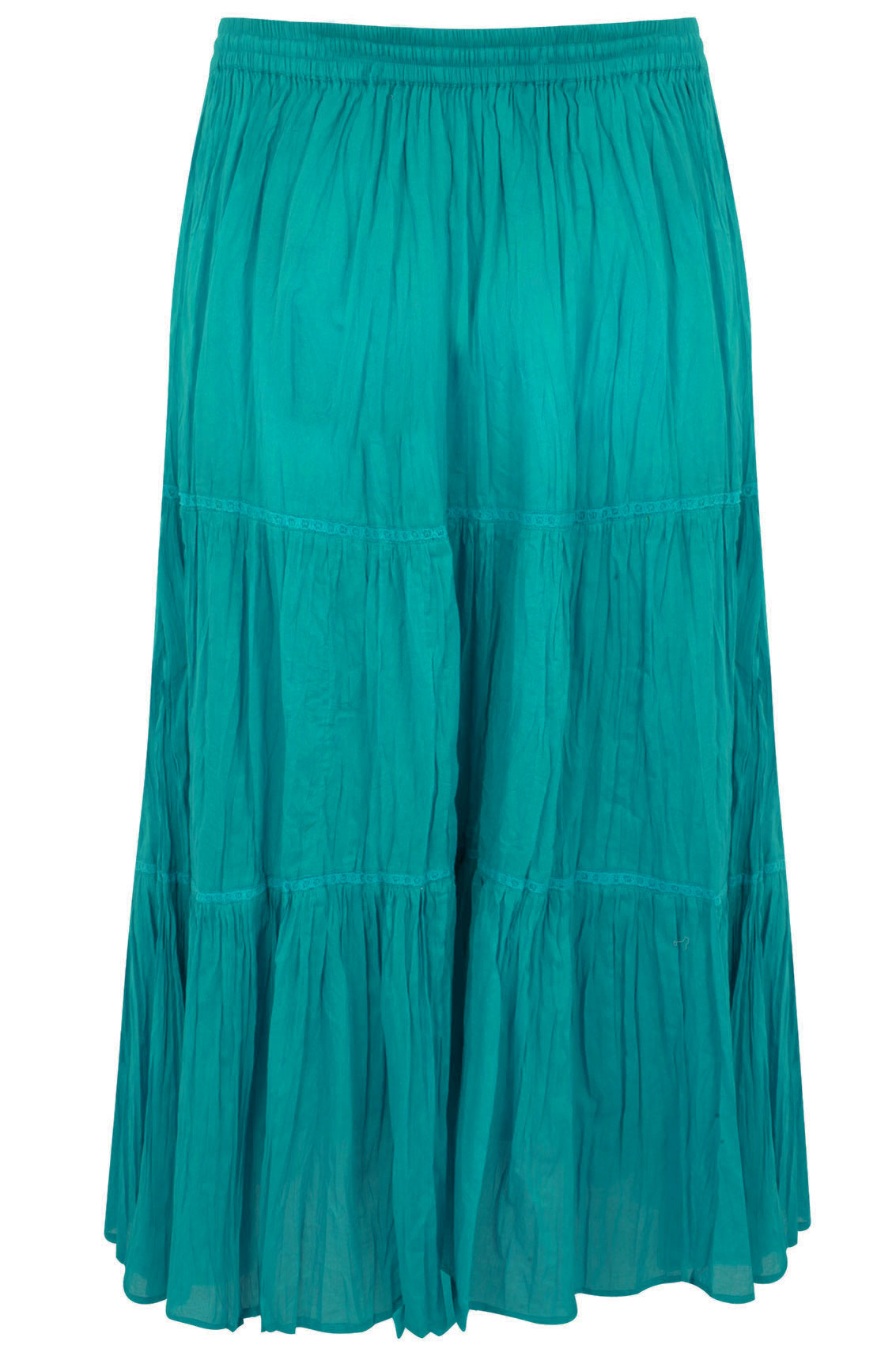 turquoise cotton voile maxi skirt with crochet detail plus