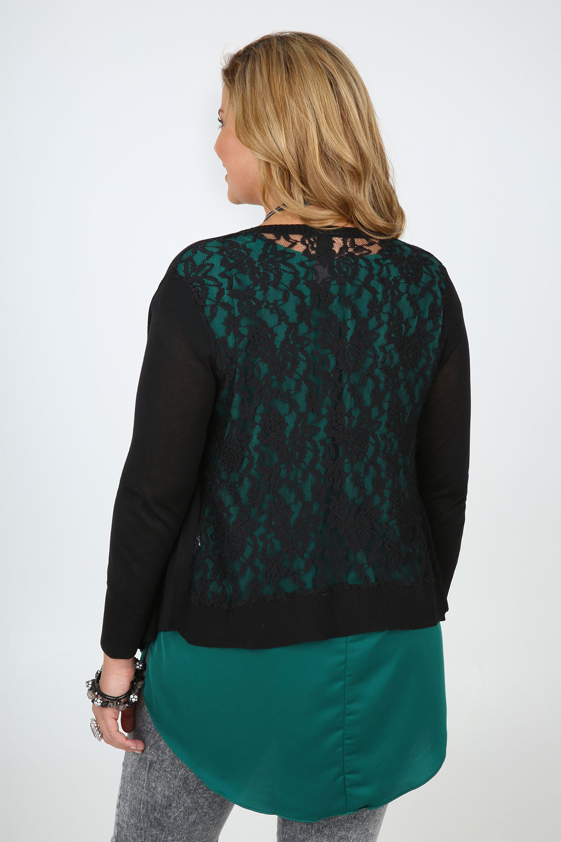 black fine knit waterfall front cardigan with lace back plus size 16 18 20 22 24 26 28 30 32. Black Bedroom Furniture Sets. Home Design Ideas