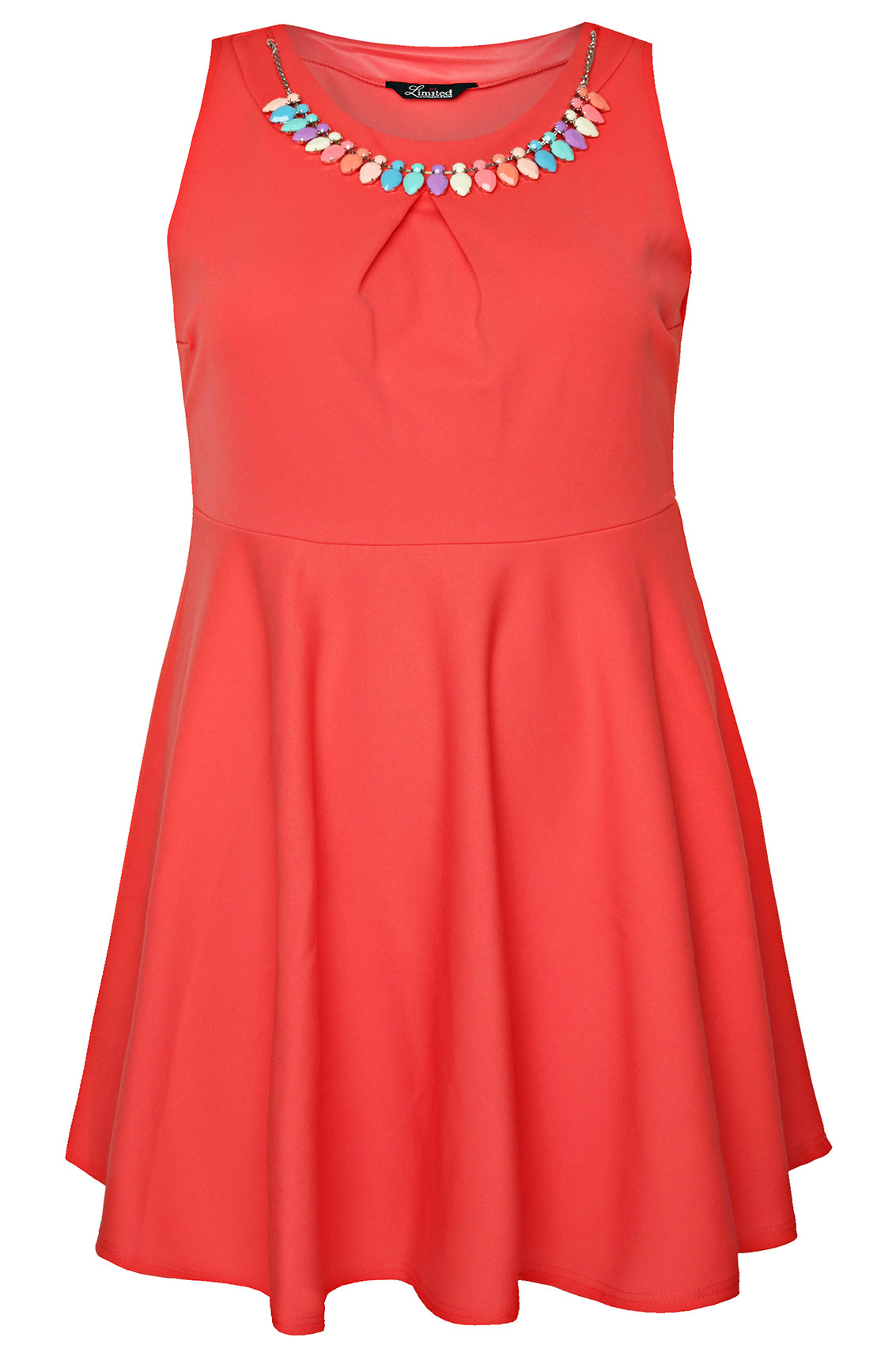 Coral skater dress with pastel jewel necklace pleat for Jewelry to wear with coral dress