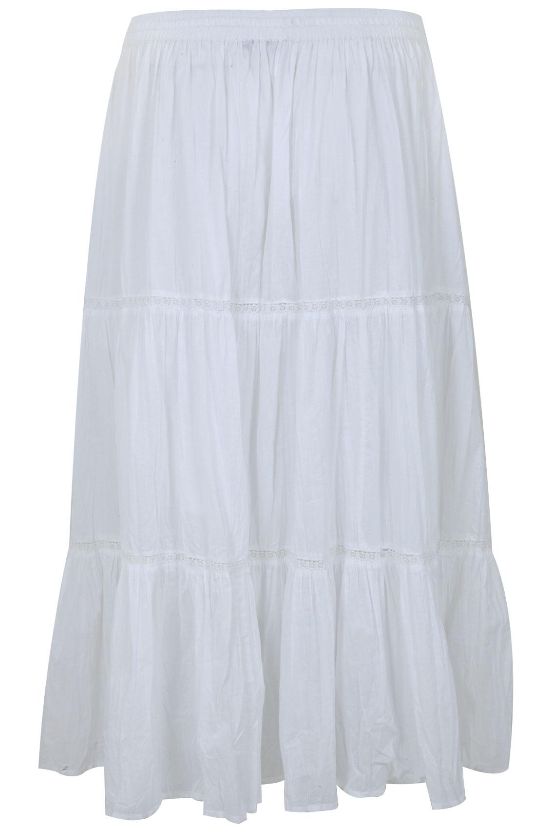 white cotton voile maxi skirt with crochet detail plus