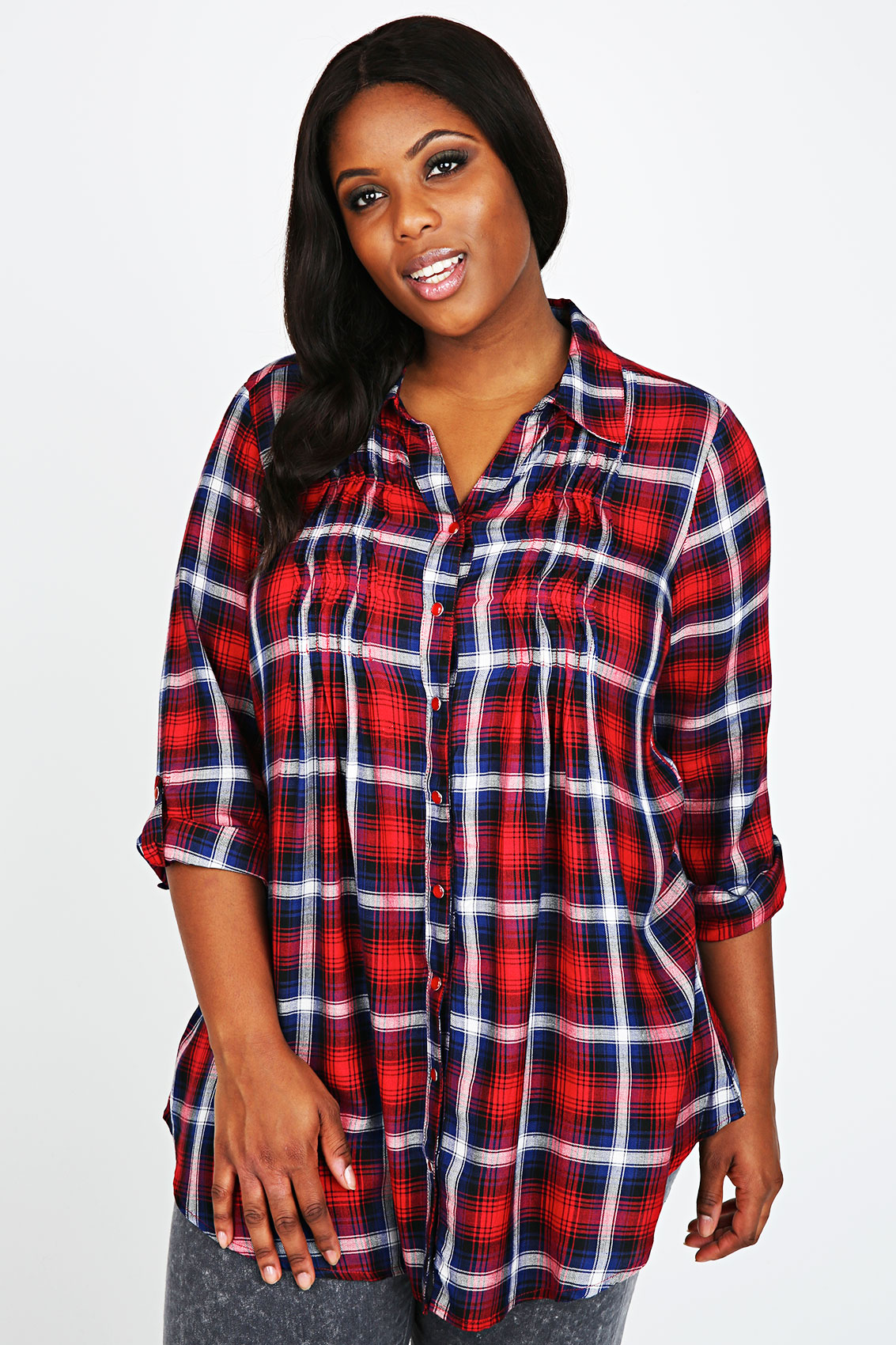Red white blue checked pin tuck shirt plus size 14 16 for Tucked in shirt plus size