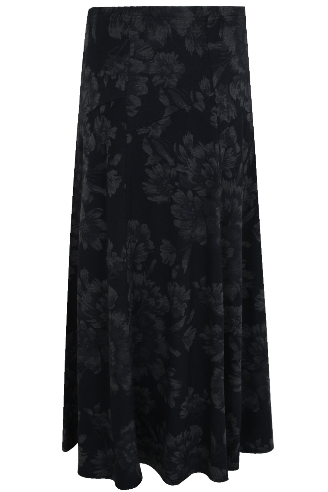 black grey floral jersey maxi skirt with abstract panel