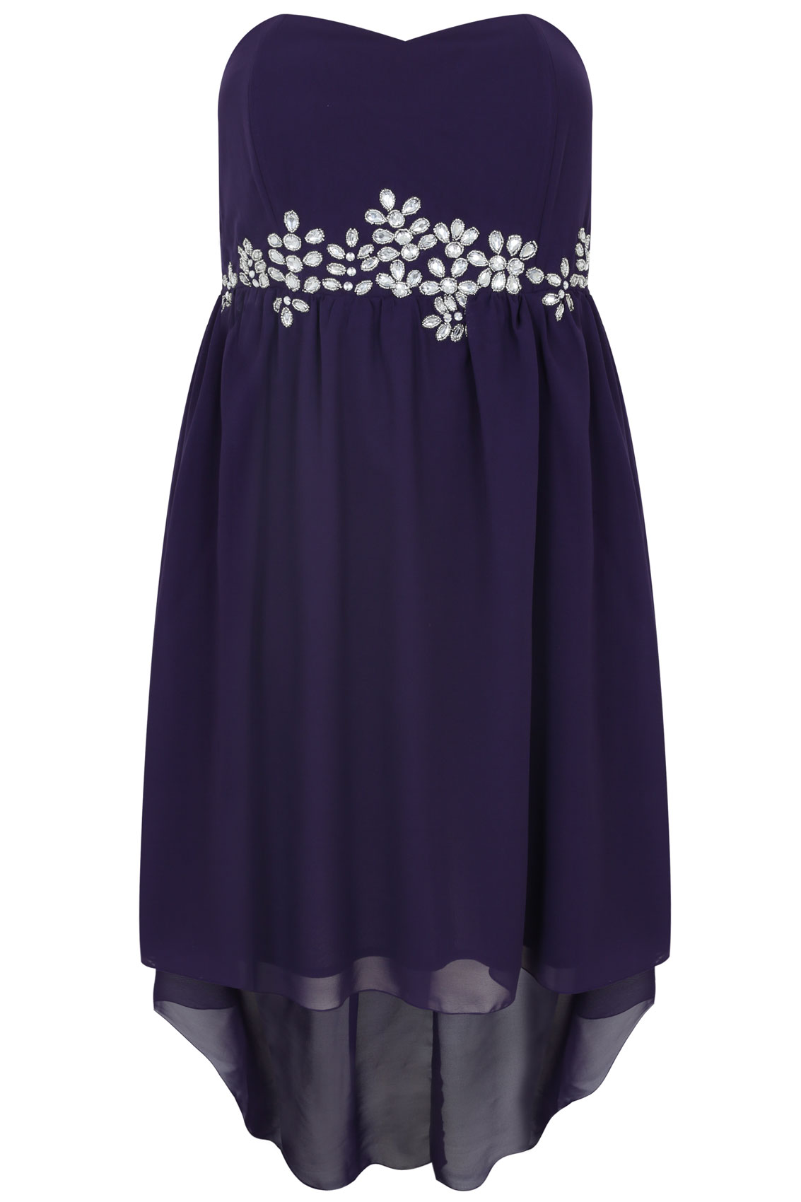 Purple Embellished Strapless Bustier Dress With Dipped Hem
