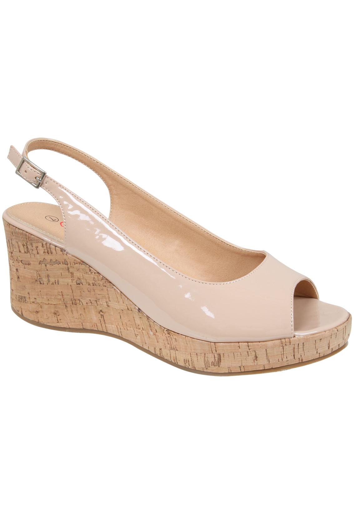 Nude Patent Peep Toe Cork Wedge Sandal In EEE Fit