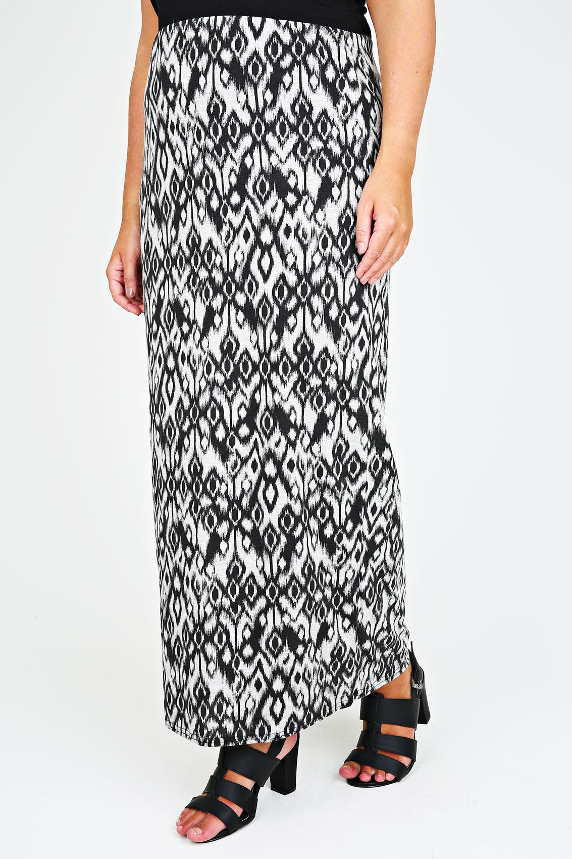 black and grey aztec print maxi skirt plus size 14 16