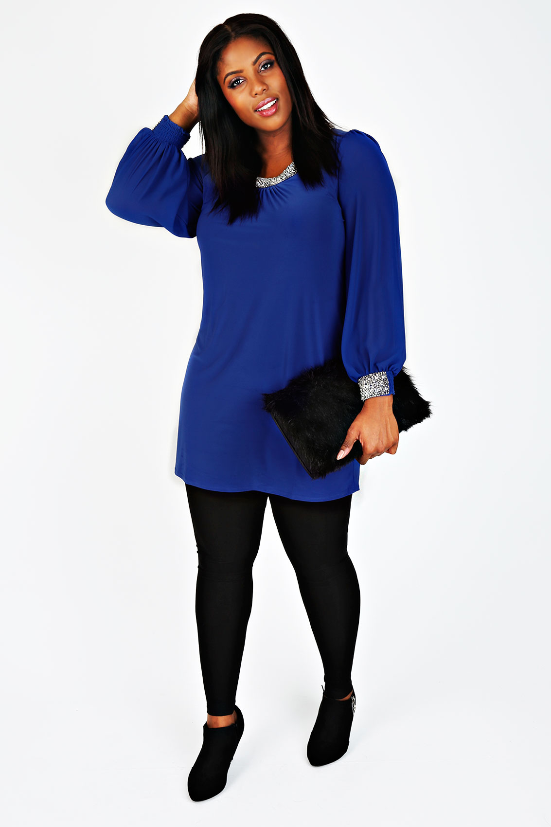 Cobalt chiffon sleeved dress with silver bead for 20 34 35 dress shirts