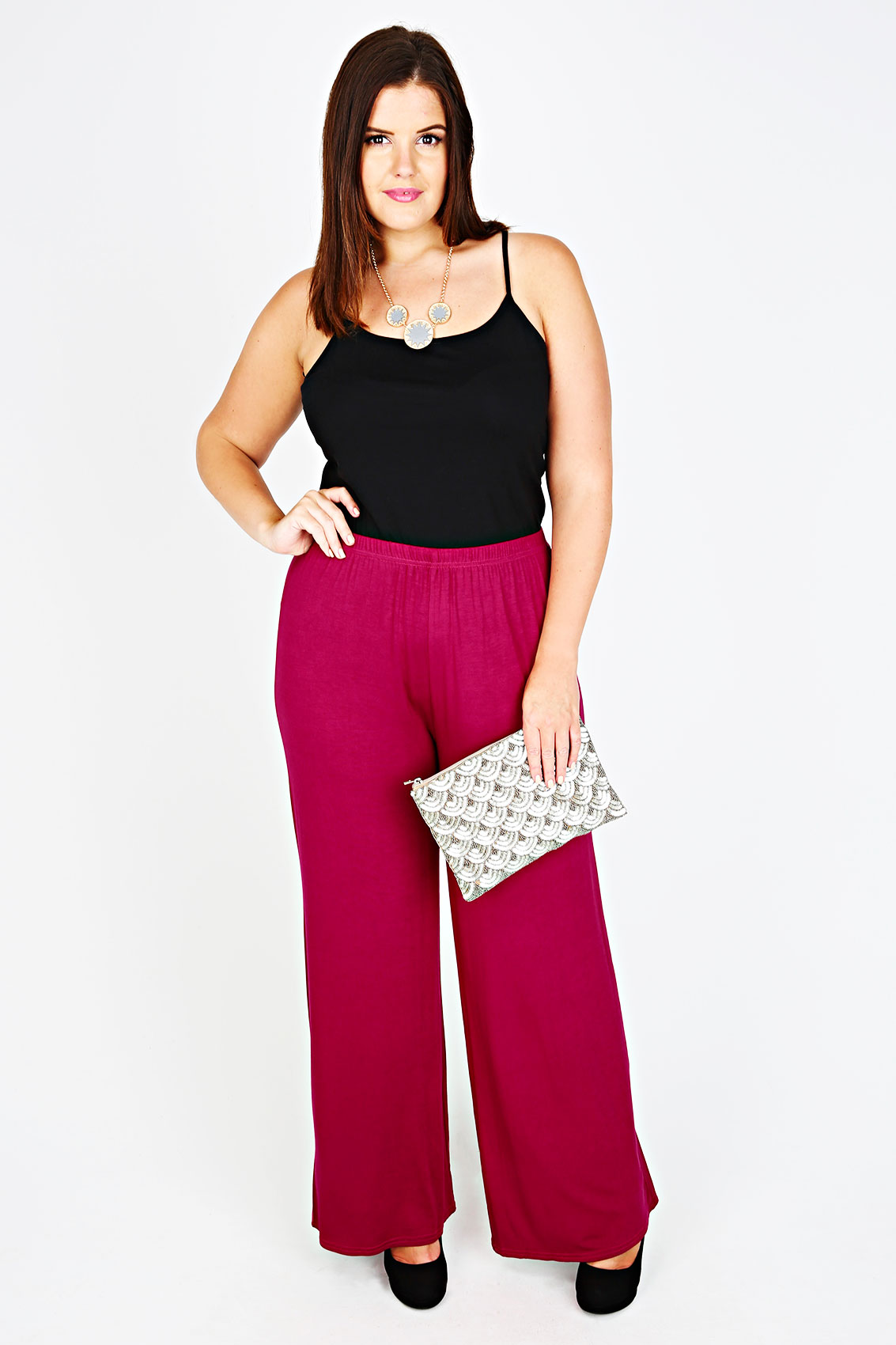 Magenta jersey palazzo trousers plus size 16 18 20 22 24 for Palazzo 24