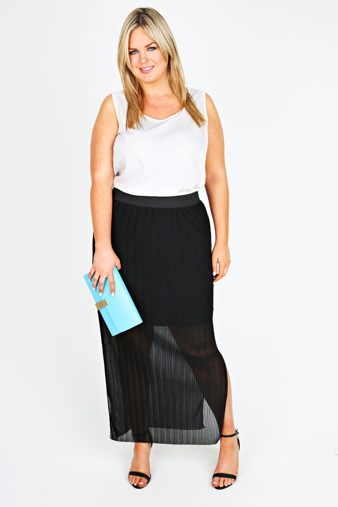 black pleated maxi skirt with side slits plus size 14 16