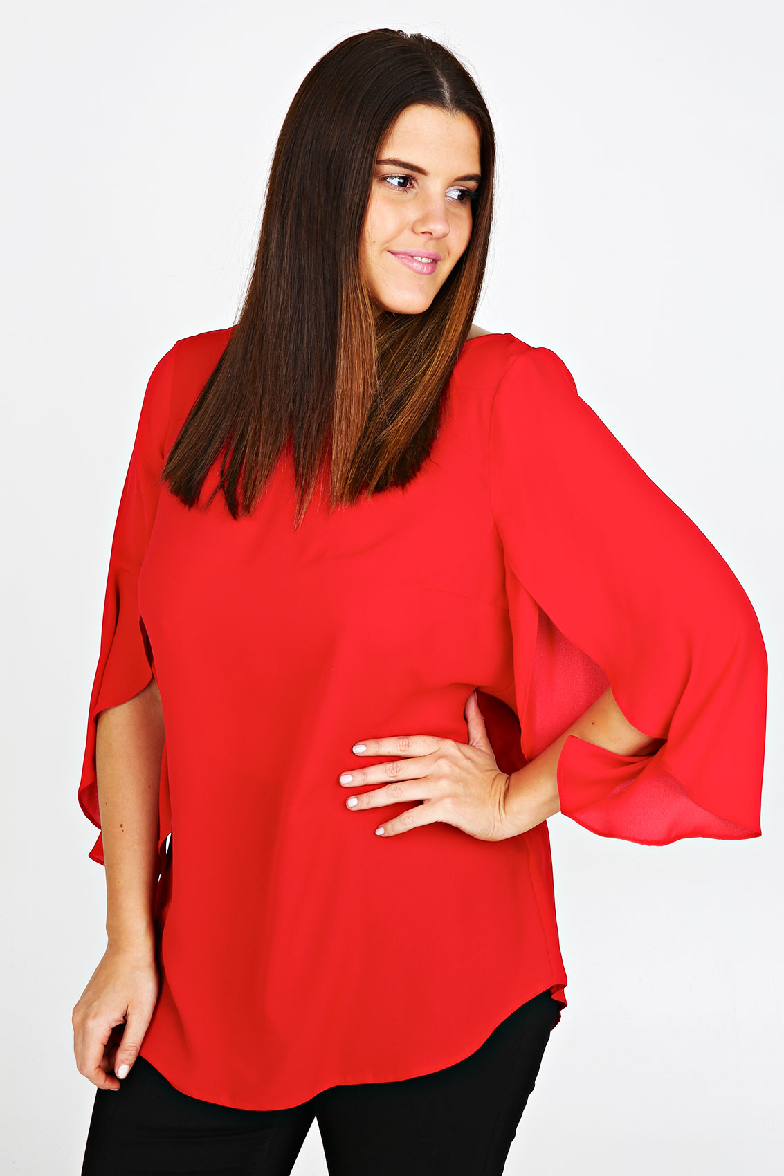 Plus Size Red Satin Blouse 97