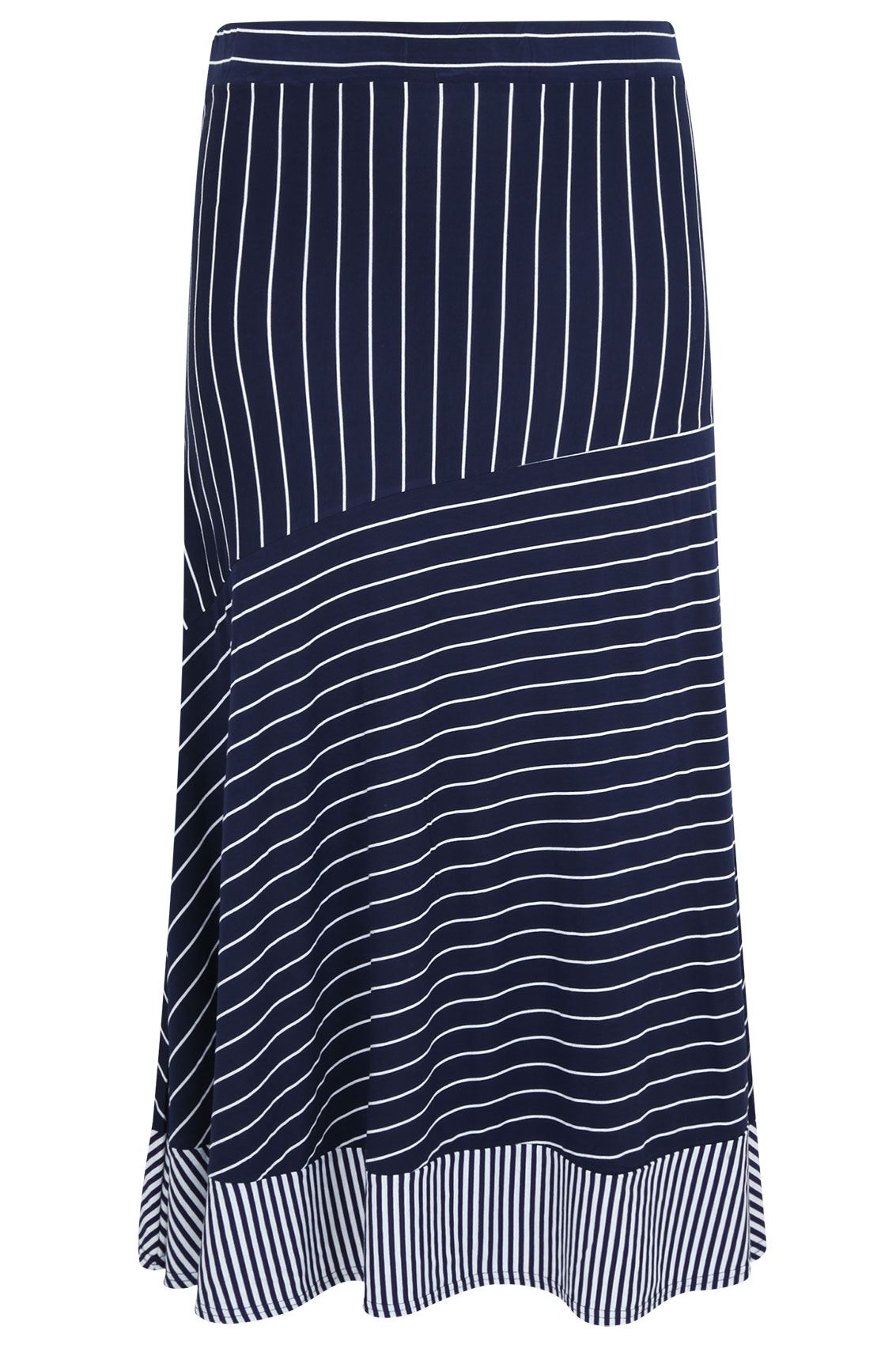 navy white stripe print jersey maxi skirt with panel