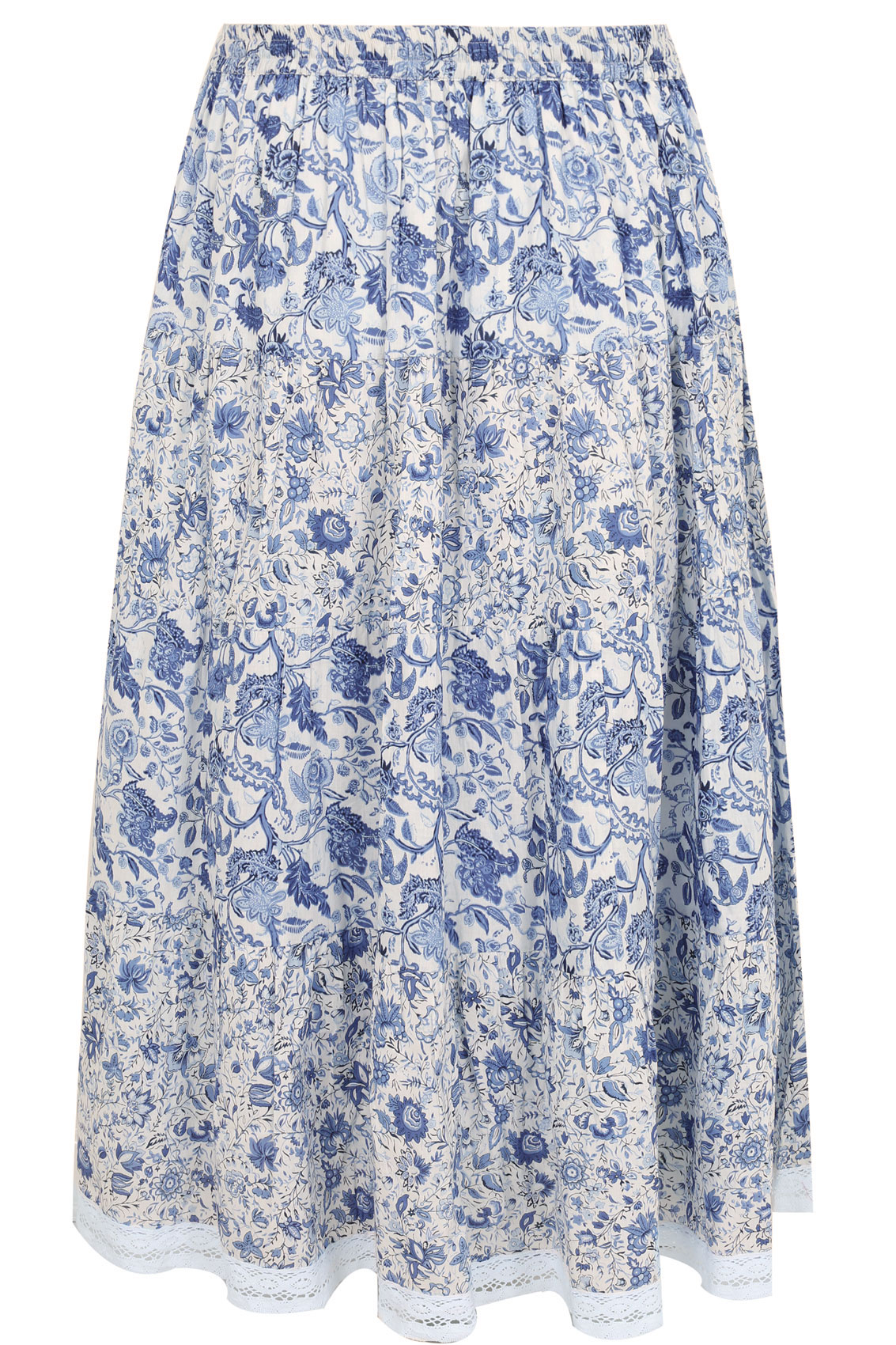 blue white floral mix match maxi skirt with