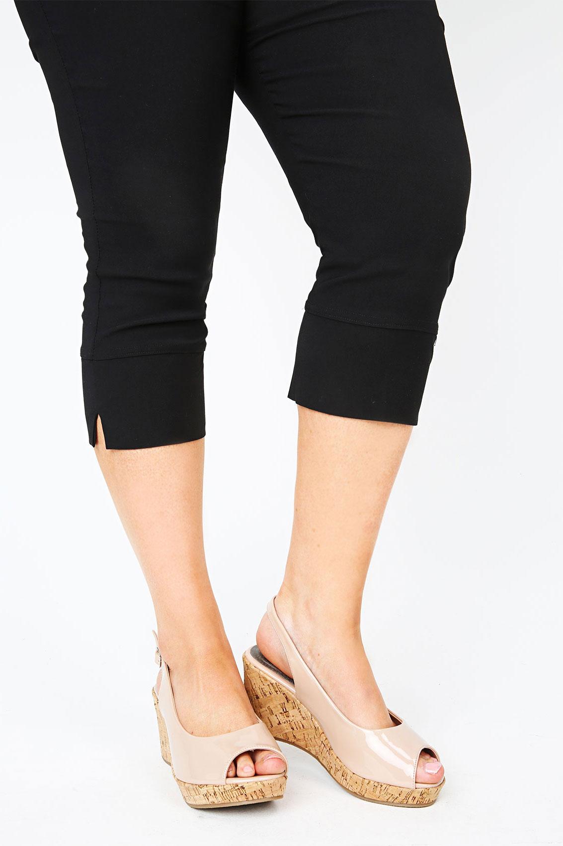 Black Patent Peep Toe Cork Wedge Sandal In A EEE Fit 4EEE