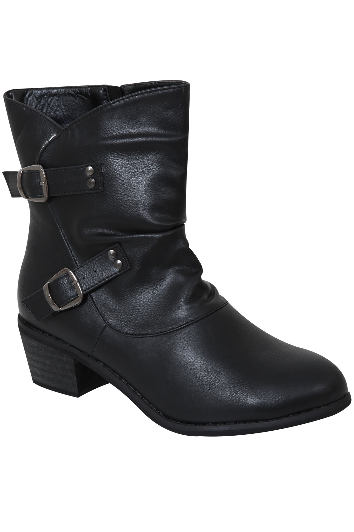 black ankle boot with buckle eee fit 4eee 5eee 6eee
