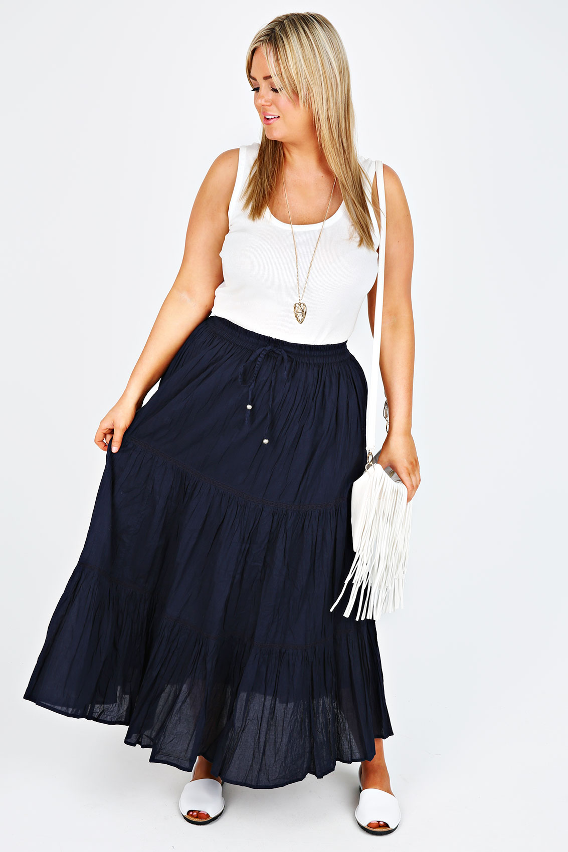 navy cotton voile maxi skirt with crochet detail plus size
