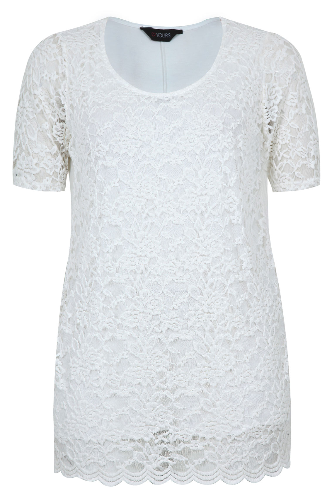Scalloped Lace Top Top With Scalloped Hem