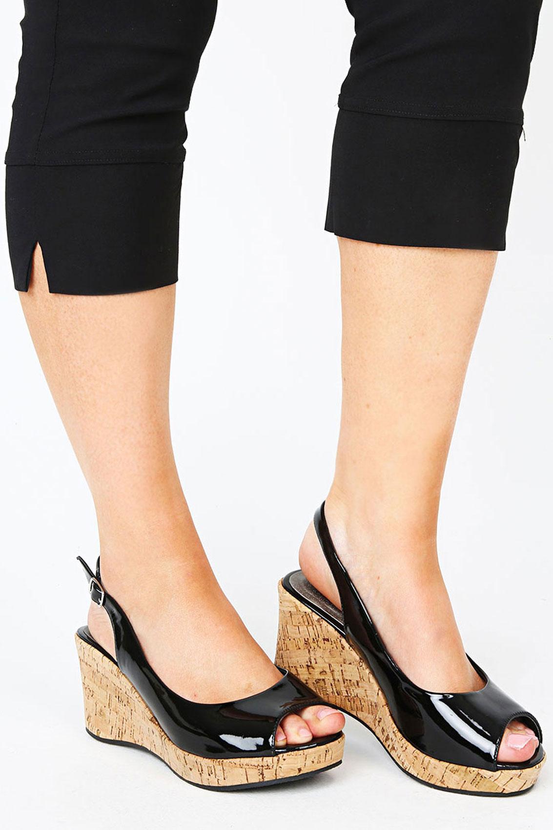 Black Patent Peep Toe Cork Wedge Sandal In A EEE Fit Size