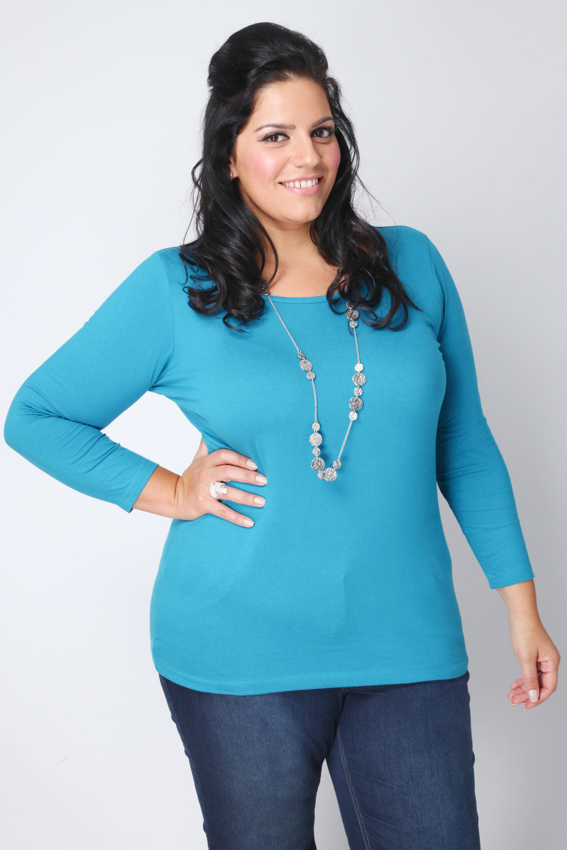 Peacock long sleeve scoop neck basic t shirt plus size 16 for Scoop neck long sleeve shirt
