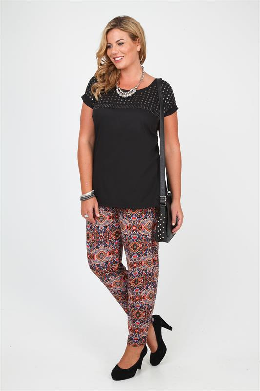 Plus size tribal print harem pants