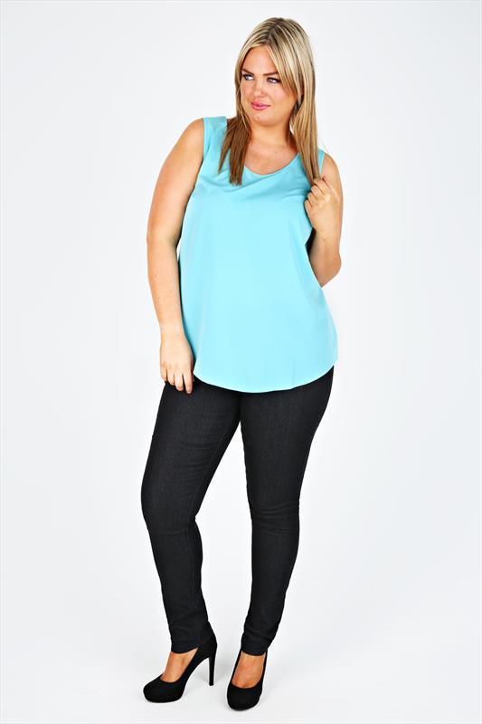 Plus Size Black Skinny Jeans With Stitch Detail