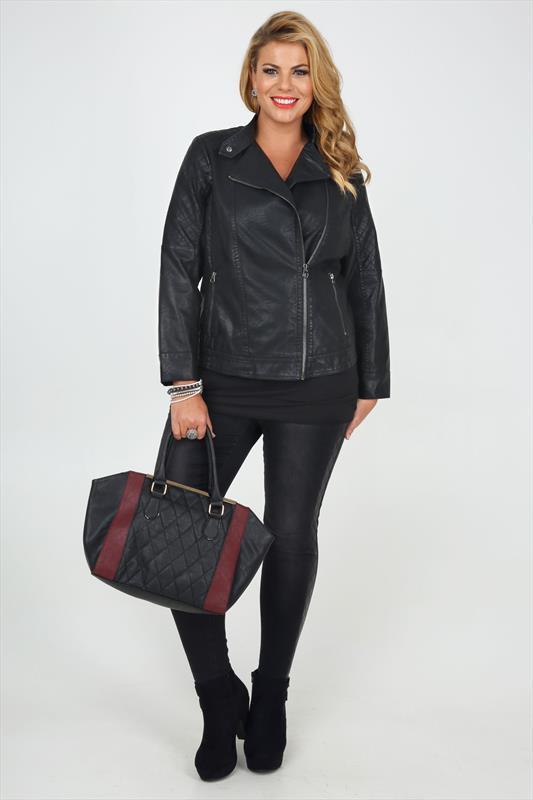 Black PU Biker Jacket With Side Zip And Stitch Detail plus size 16