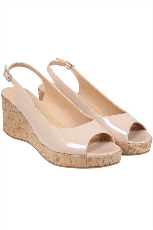 Nude Patent Peep Toe Cork Wedge Sandal In A EEE Fit 4EEE