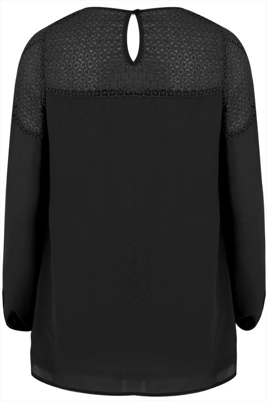 Black swing blouse with crochet panel plus size 14 16 18 20 22 24 26