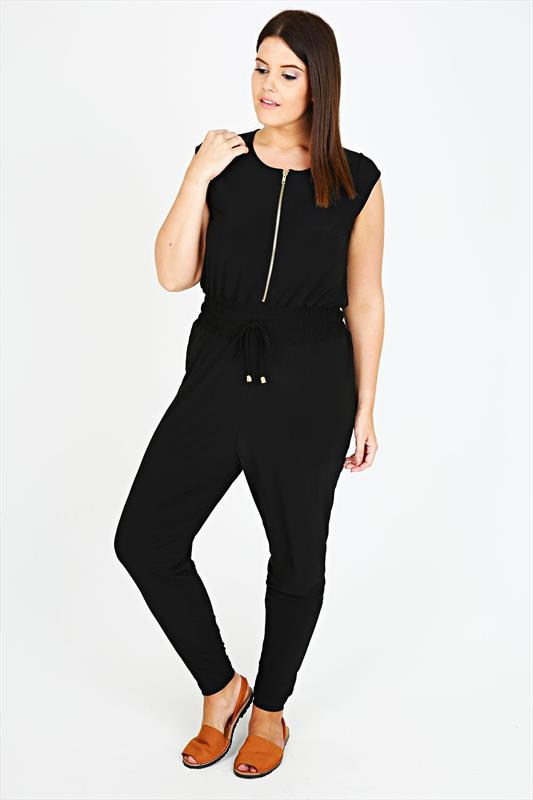 Black Stretch Jersey Utility-Style Jumpsuit With Gold Zip Detail