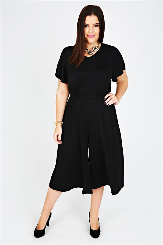 Black Culotte Jersey Jumpsuit With Waist Tie