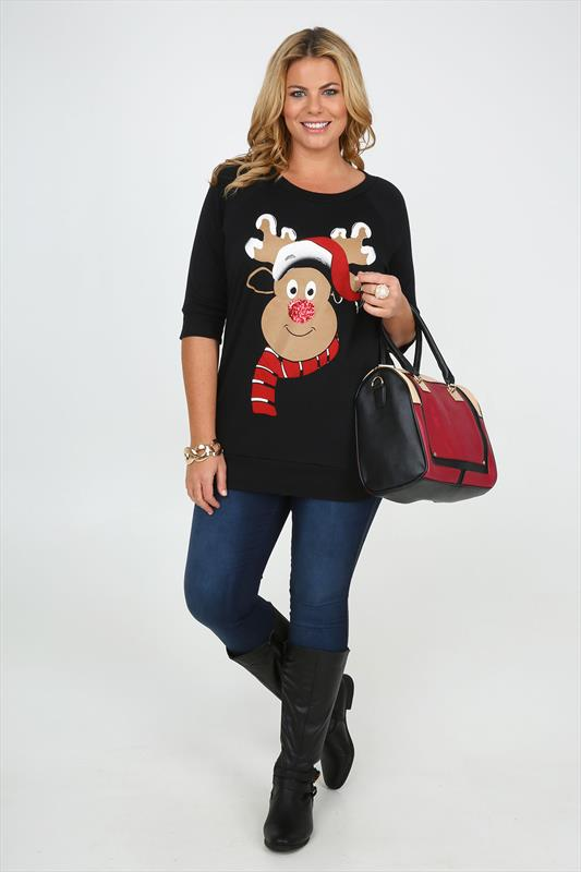 Black rudolph the reindeer print christmas sequin sweat top plus size