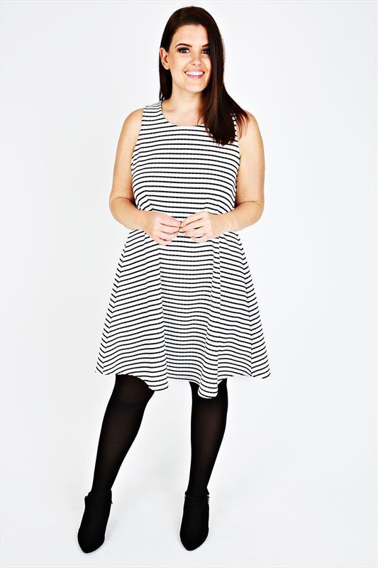 Ivory amp black textured stripe sleeveless swing dress plus size 14 16